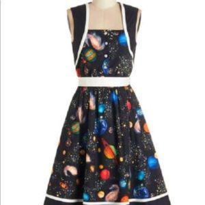 XS Space Solar System Print Full Skirt Dress